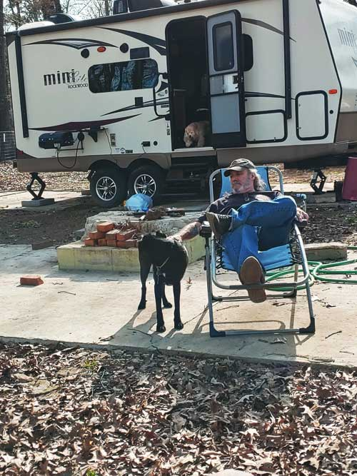 Quality time in a tiny camper with another Human and three dogs