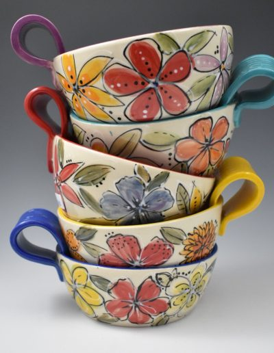 Colorful handled bowls