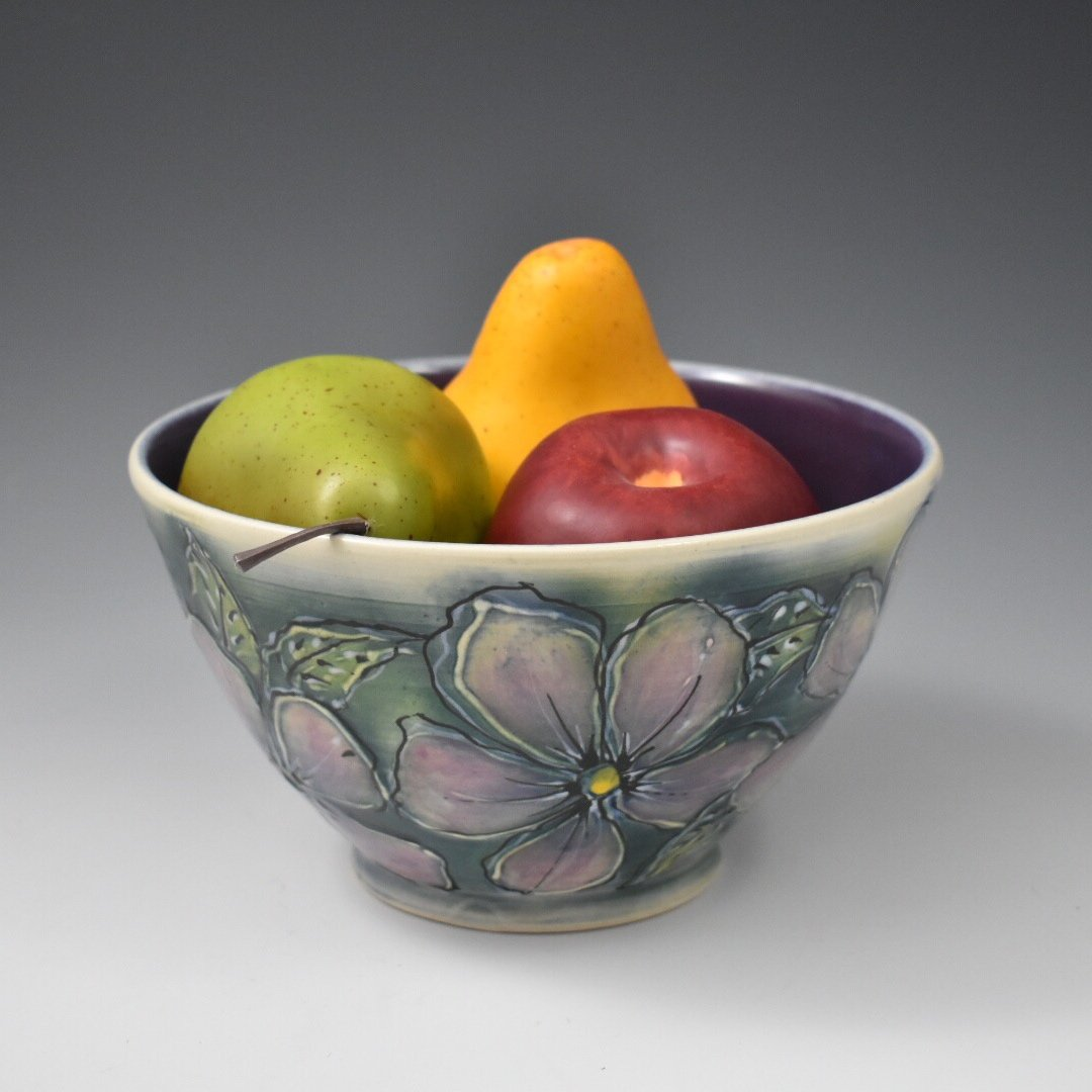 Serving Bowl with purple flowers