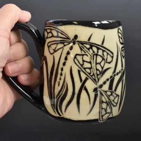 Dragonfly Sgrafitto Carved Mug