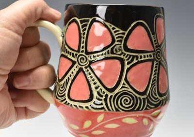 Pink Flower Sgraffito Mug