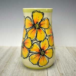 Ceramic Vase with Bright Yellow Flowers