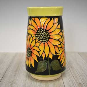 Sunflower Hand carved Vase in Bright Colors