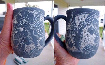 Sgraffito carving a Hummingbird and Flower Mug