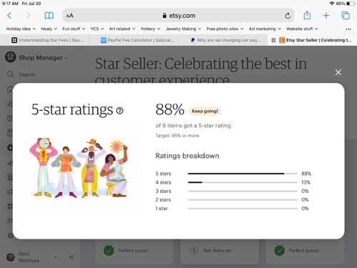 Etsy Star Seller rating