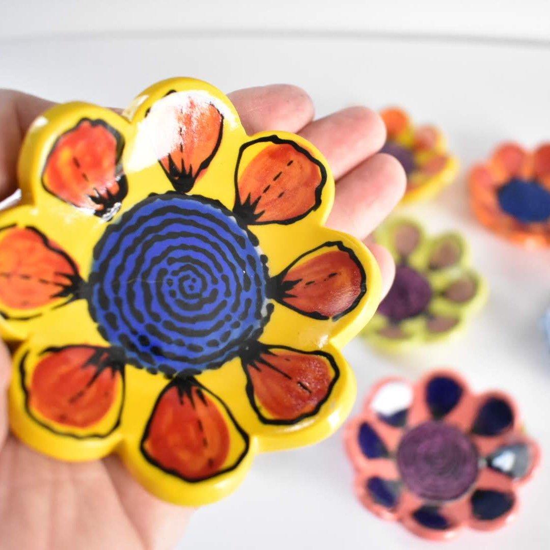 Small trinket dish with vibrant underglaze color