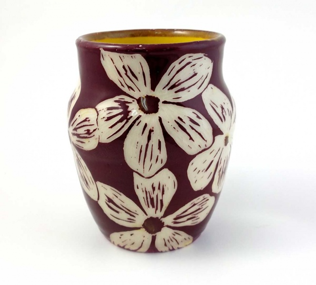 Vase - Maroon with carved floral pattern