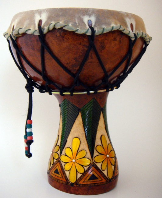 Gourd Drum with Flower Motif- SOLD