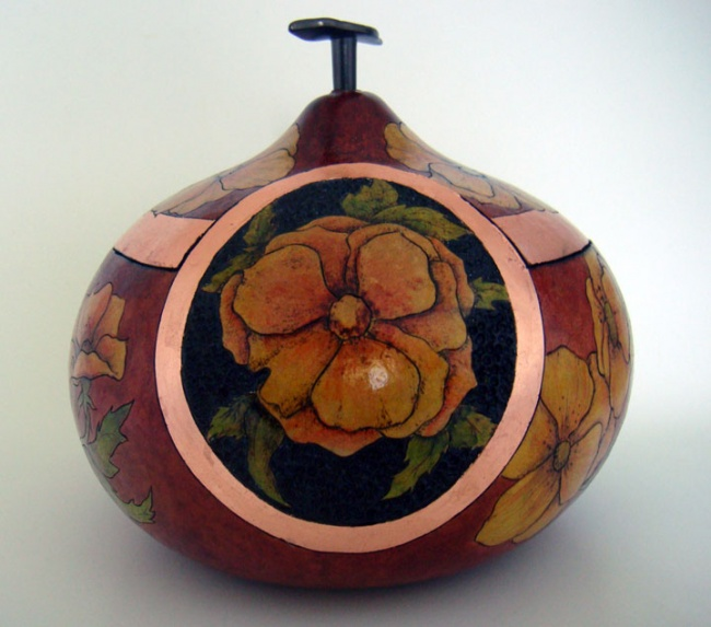 Lidded Gourd Vessel with Flowers-SOLD